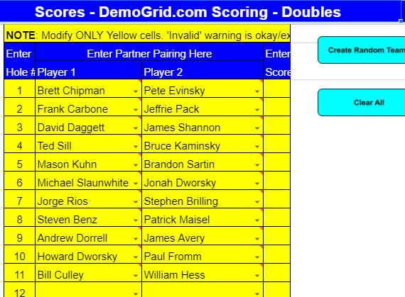 Tuesday Doubles Week 8 Pairings